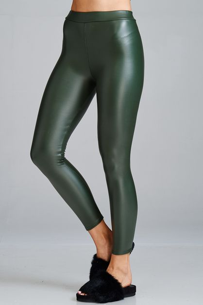 PLAIN SOLID QUALITY PU LEGGINGS - orangeshine.com
