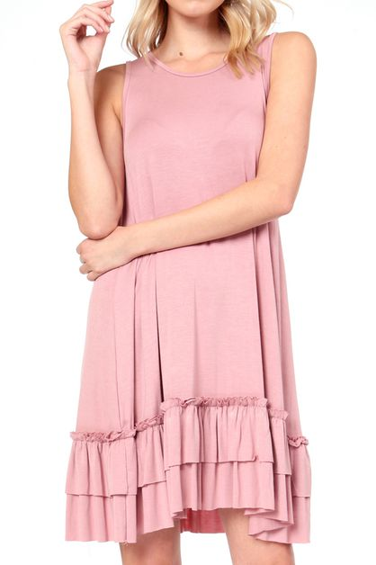 MODAL FABRIC RUFFLED HEM LAYER DRESS - orangeshine.com