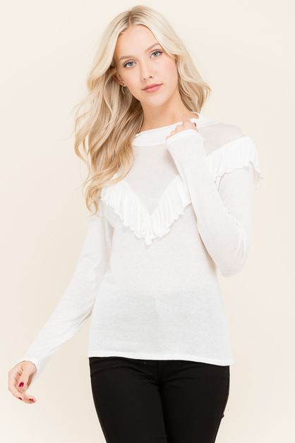 RUFFLE KNIT TOP - orangeshine.com