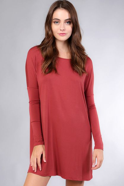 PLUS SOLID MODAL LONG SLEEVE TUNIC - orangeshine.com