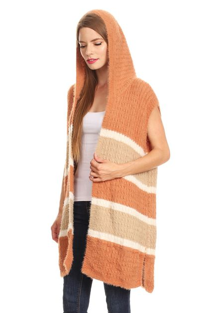 stripe knit vest with hood - orangeshine.com
