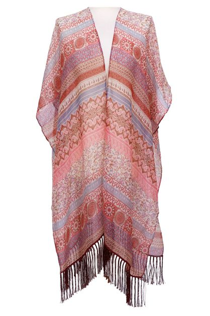 Graphic Fringe Kimono Cover Up - orangeshine.com
