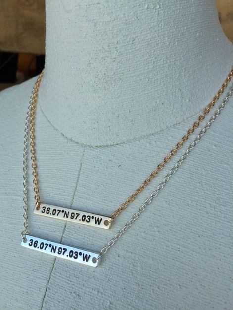 OK State Coordinates Necklace - orangeshine.com