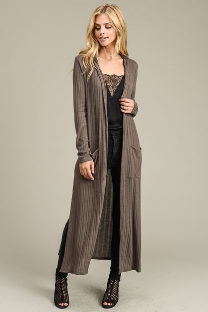 Long Ribbed Cardigan - orangeshine.com