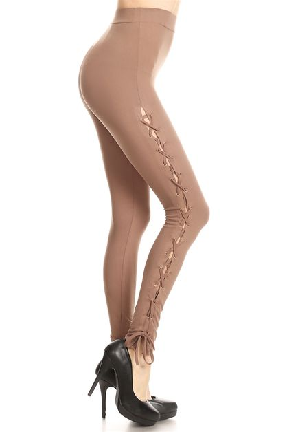 SEXY SIDE OPEN LACE UP LEGGINGS - orangeshine.com