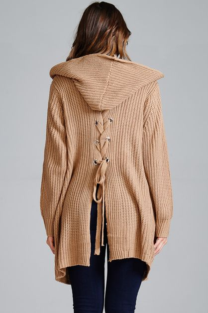 Lace-up Cardigan with Hoodie detail - orangeshine.com