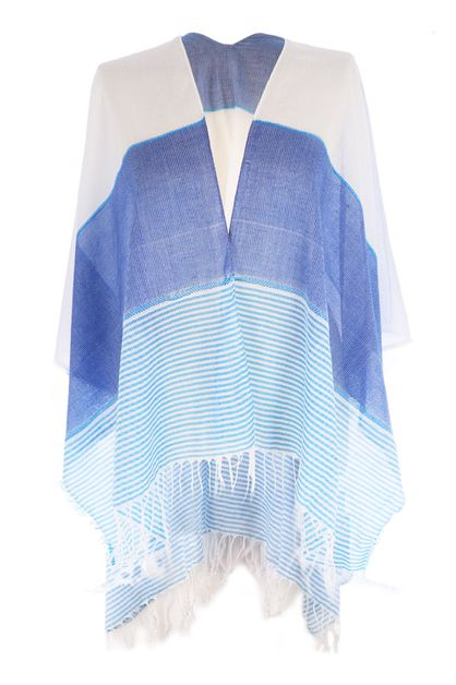 Striped Fringe Blue White Cover Up - orangeshine.com