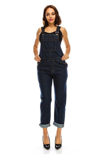 BASIC BOYFRIEND DENIM OVERALL - orangeshine.com