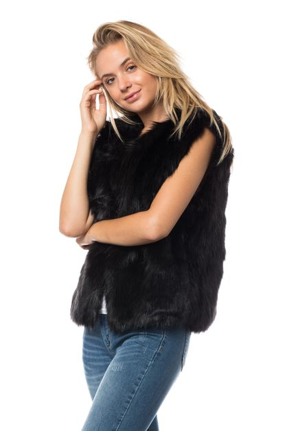 FAUX FUR WAIST LENGTH VEST - orangeshine.com