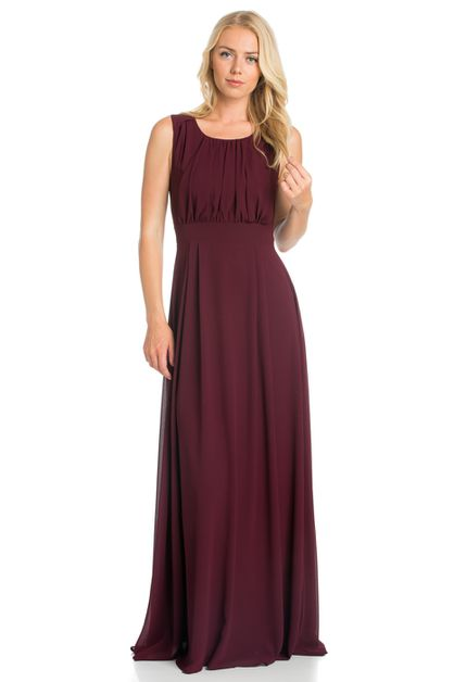 SLEEVELESS MAXI DRESS WITH PLEADED  - orangeshine.com