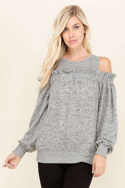 LIAN RUFFLE COLD SHOULDER SWEATER - orangeshine.com