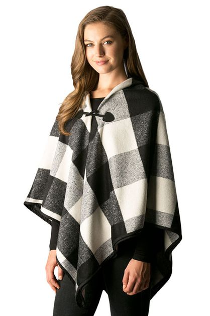 Plaid Pattern Cape Shawl with Toggle - orangeshine.com