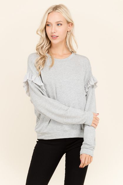 RUFFLE DROP SHOULDER SWEATER - orangeshine.com
