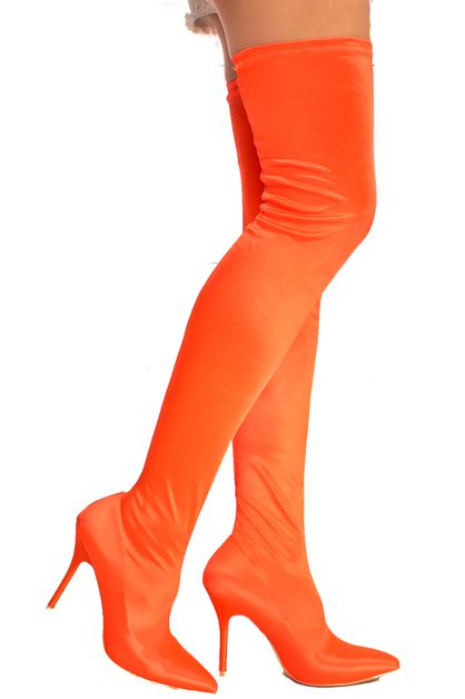 VELVET POINTED TOE THIGH HIGH HEEL - orangeshine.com