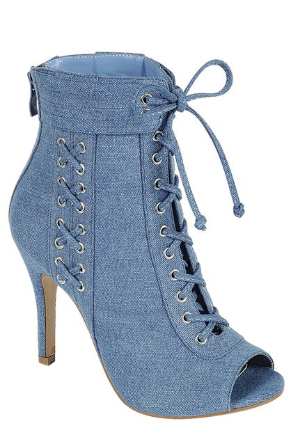 DENIM HIGH HEELS BOOTIES - orangeshine.com