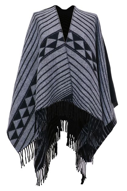 Black Poncho Wrap with Tassels - orangeshine.com