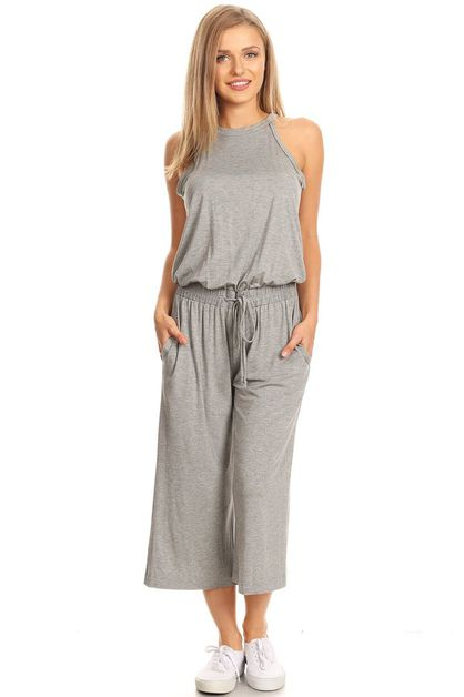 CANDIE CROPPED BAMBOO JUMPSUIT - orangeshine.com