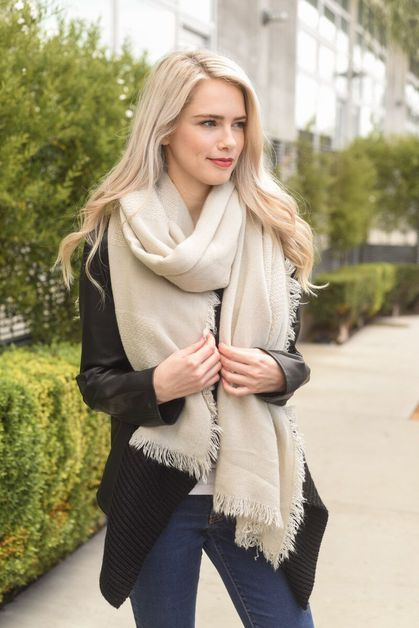 Grid Textured Blanket Scarf  - orangeshine.com