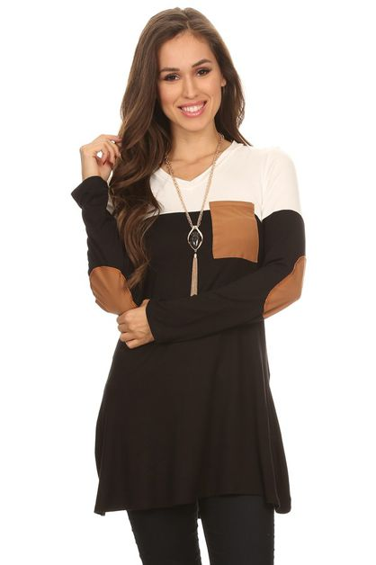 Ivory Black Pocket Top - orangeshine.com