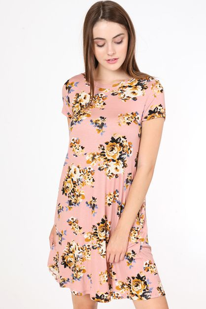 FLORAL PRINT POCKET DRESS - orangeshine.com
