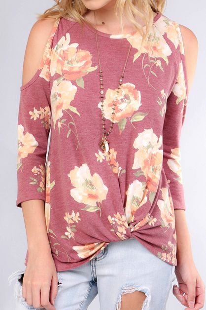 FLORAL COLD SHOULDER FRONT KNOT - orangeshine.com