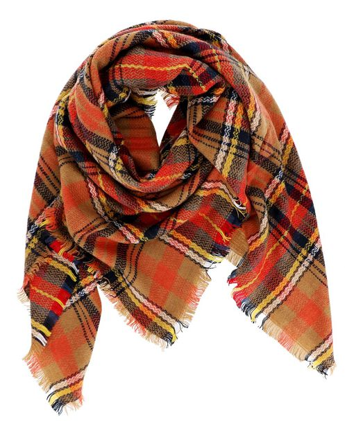 Fringe Plaid Square Scarf - orangeshine.com