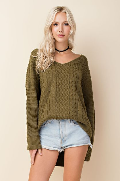 Chunky Cable Knit Pullover Sweater - orangeshine.com