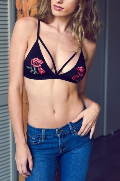 Rose Embroidery Patch Strap Bralette - orangeshine.com