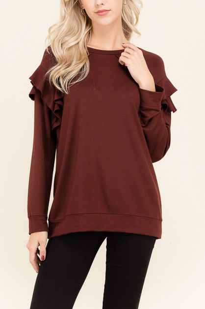RUFFLE DIVIDED SWEATSHIRTS     - orangeshine.com