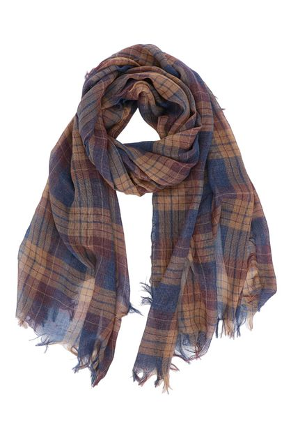 Plaid Fringe Oblong Scarf - orangeshine.com