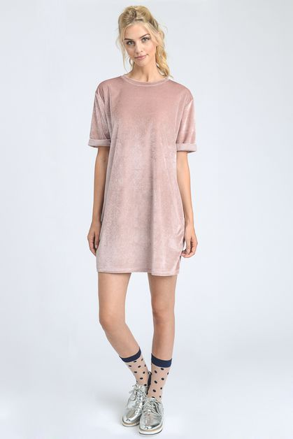 GLITTER VELVET T-SHIRT DRESS - orangeshine.com