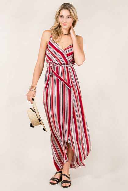 Striped and Strappy Wrap Dress - orangeshine.com
