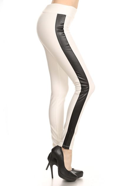 FAUX LEATHER SIDE DETAIL LEGGINGS - orangeshine.com