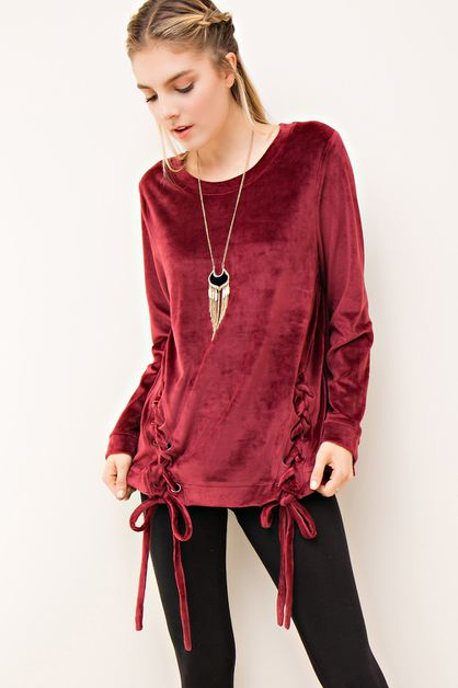 Solid Velvet Sweater Top - orangeshine.com