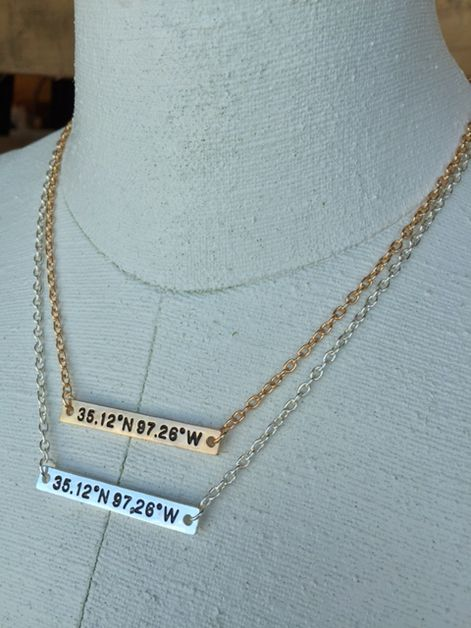 Oklahoma Coordinates Necklace - orangeshine.com