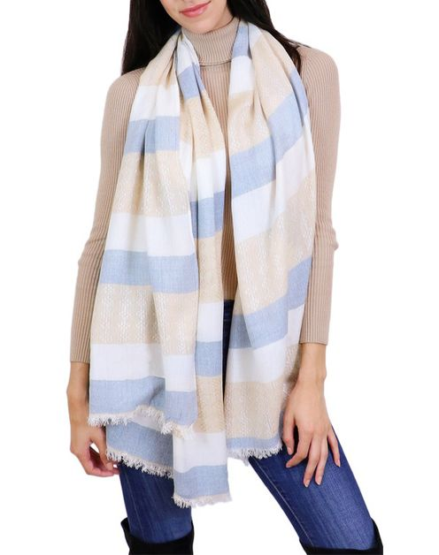 Striped Neutral Oblong Scarf - orangeshine.com