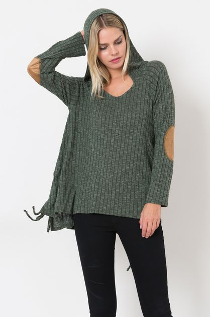 Rib Sweater Hoodie Top - orangeshine.com