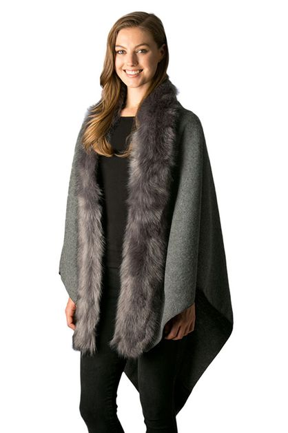 Faux Fur Collared Cape Shawl - orangeshine.com