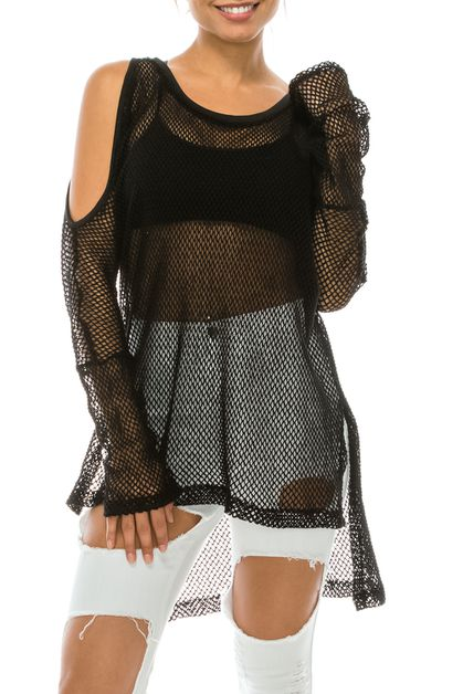 KNIT FISH NET OFF SHOULDER TOP   - orangeshine.com