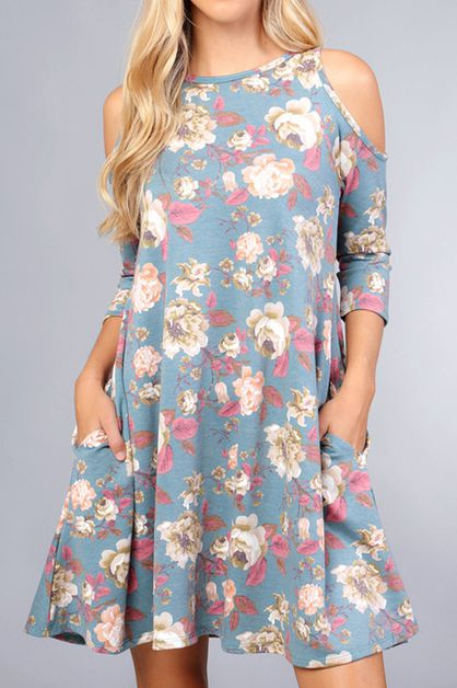 FLORAL PRINT COLD SHOULDER DRESS WIT - orangeshine.com