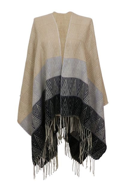 Tassel Beige Ruana Shawl Cover Up - orangeshine.com