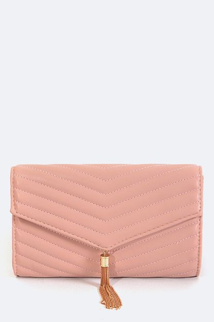 Quilted Soft Tassel Clutch - orangeshine.com