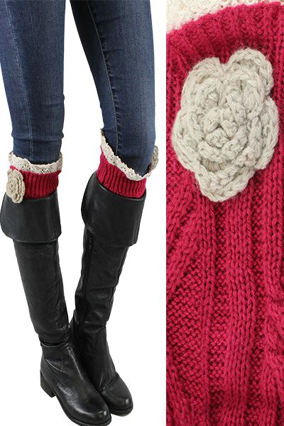 Long Boot Warmer with Flower - orangeshine.com