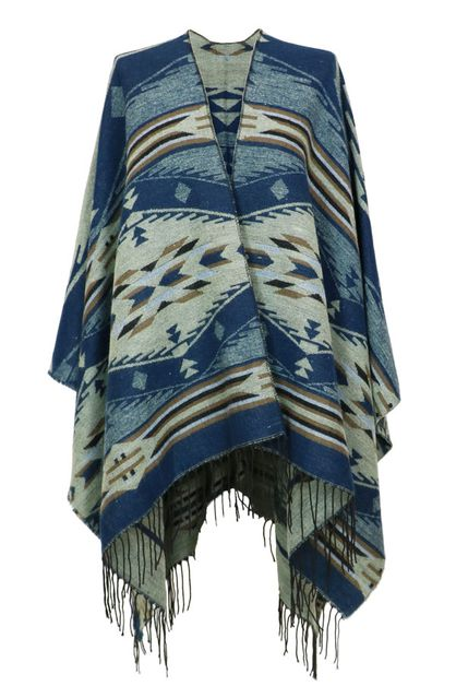 Geo Print Fringe Wrap Cover Up - orangeshine.com