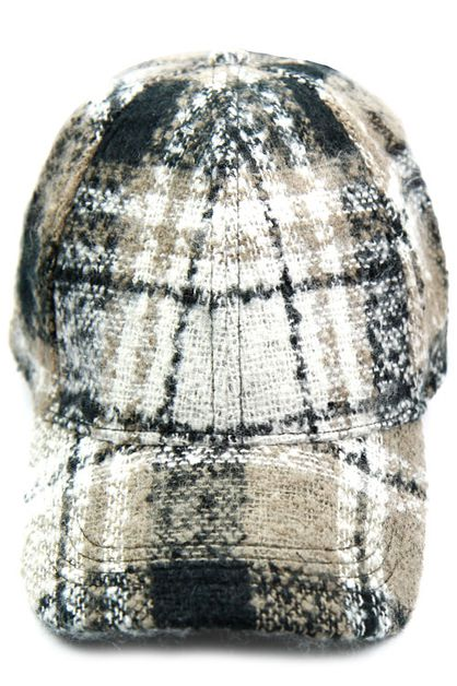 Plaid Fur Baseball Cap - orangeshine.com