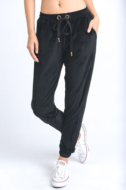 VELVET CASUAL DRAWSTRING PANTS - orangeshine.com