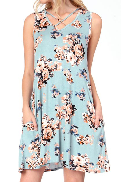 FLORAL PRINT CRISSCROSS DRESS - orangeshine.com