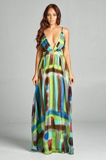 Long Printed Silk Dress - orangeshine.com