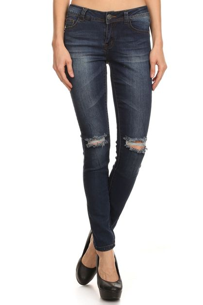 DISTRESSED KNEE DARK SKINNY JEANS - orangeshine.com
