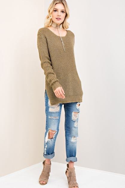 Solid Sweater Top - orangeshine.com